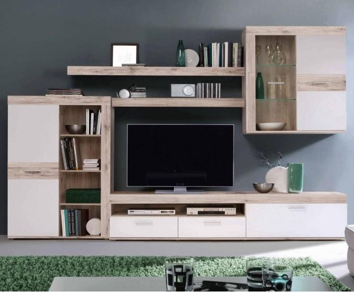 Obývacia stena, DTD fóliovaná, dub pieskový/biela, VALERIA OS