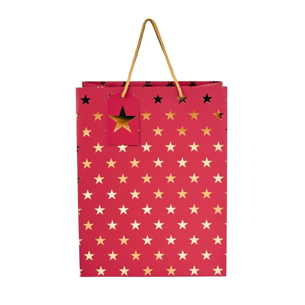 Darčeková taška Butlers Vianočné hviezdy, výška 13,5 cm