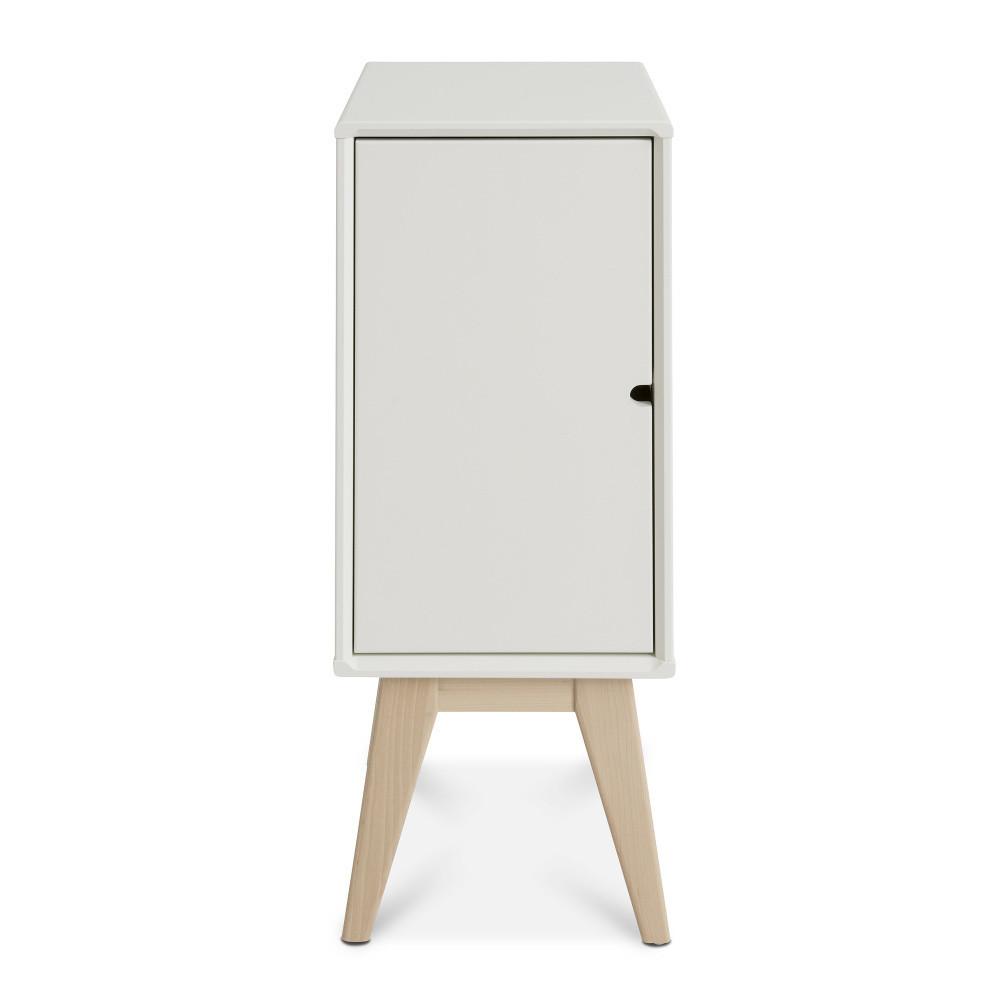 Biely ručne vyrobený nočný stolík z masívneho brezového dreva KiteenNotte