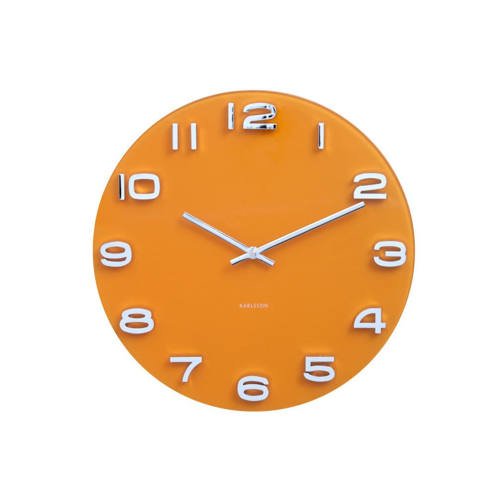 Oranžové hodiny Present Time Vintage