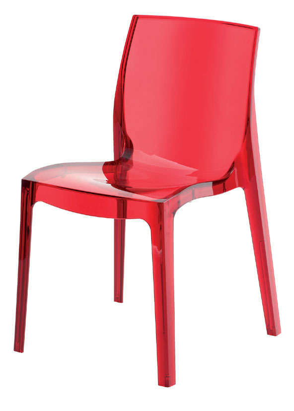 FEMME FATALLE transparentná stolička, rosso