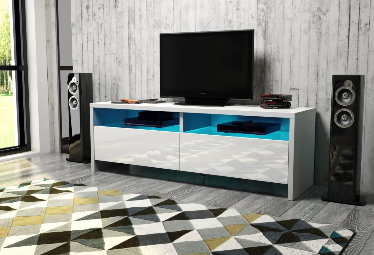 TV stolík/skrinka Caracas (biela + lesk biely)