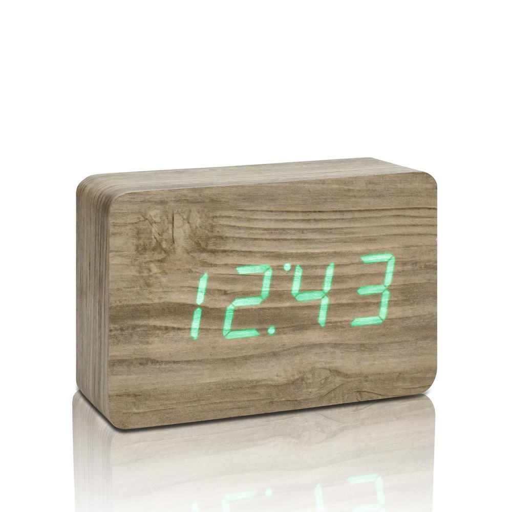Svetlohnedý budík so zeleným LED displejom Gingko Brick Click Clock