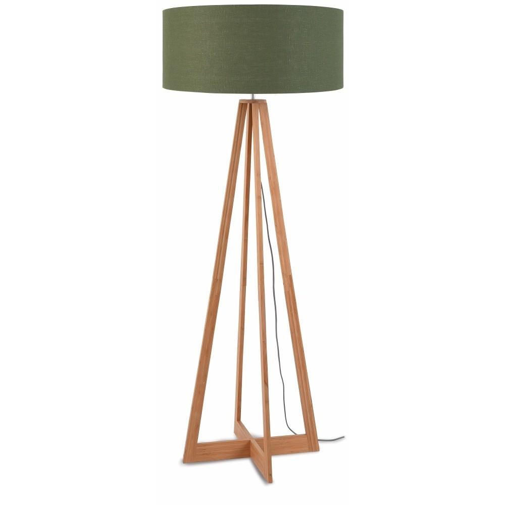 Stojacia lampa so zeleným tienidlom a konštrukciou z bambusu Good&Mojo Everest