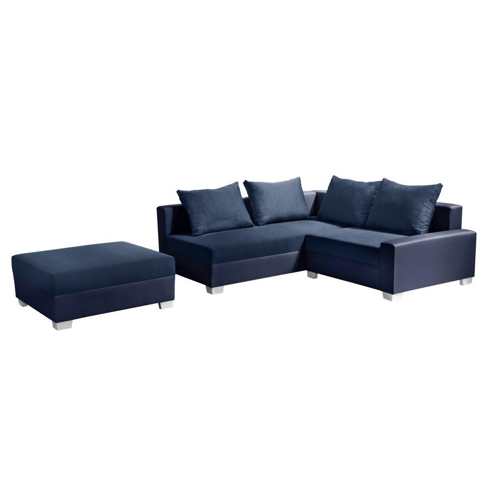 Modrá rohová pohovka s lôžkom na ľavej strane Interieur De Famille Paris Aventure