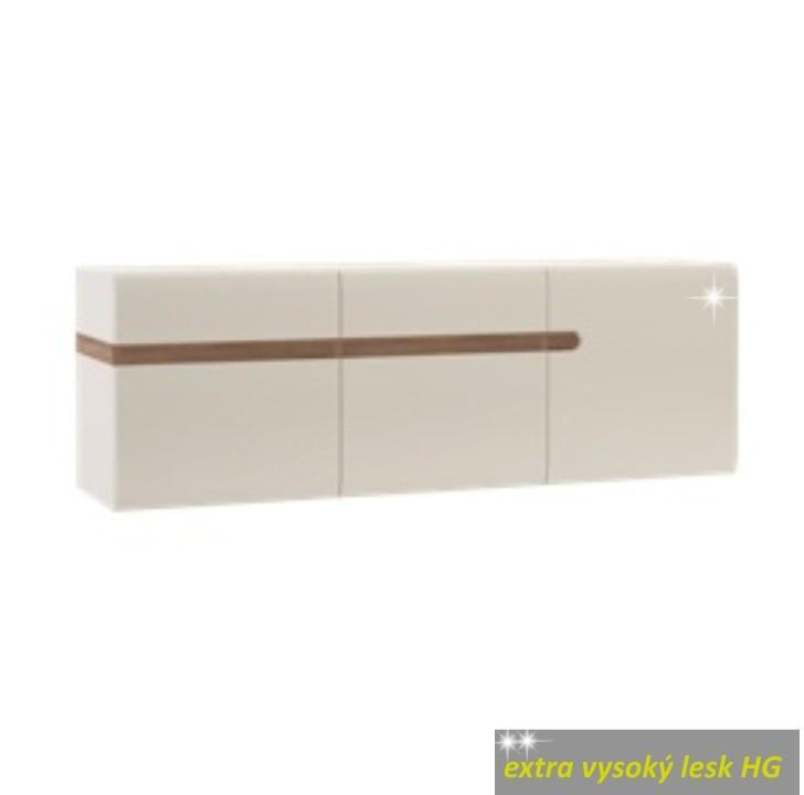 TEMPO KONDELA Visiaca skrinka, biela extra vysoký lesk/dub sonoma tmavý truflový, LYNATET TYP 67
