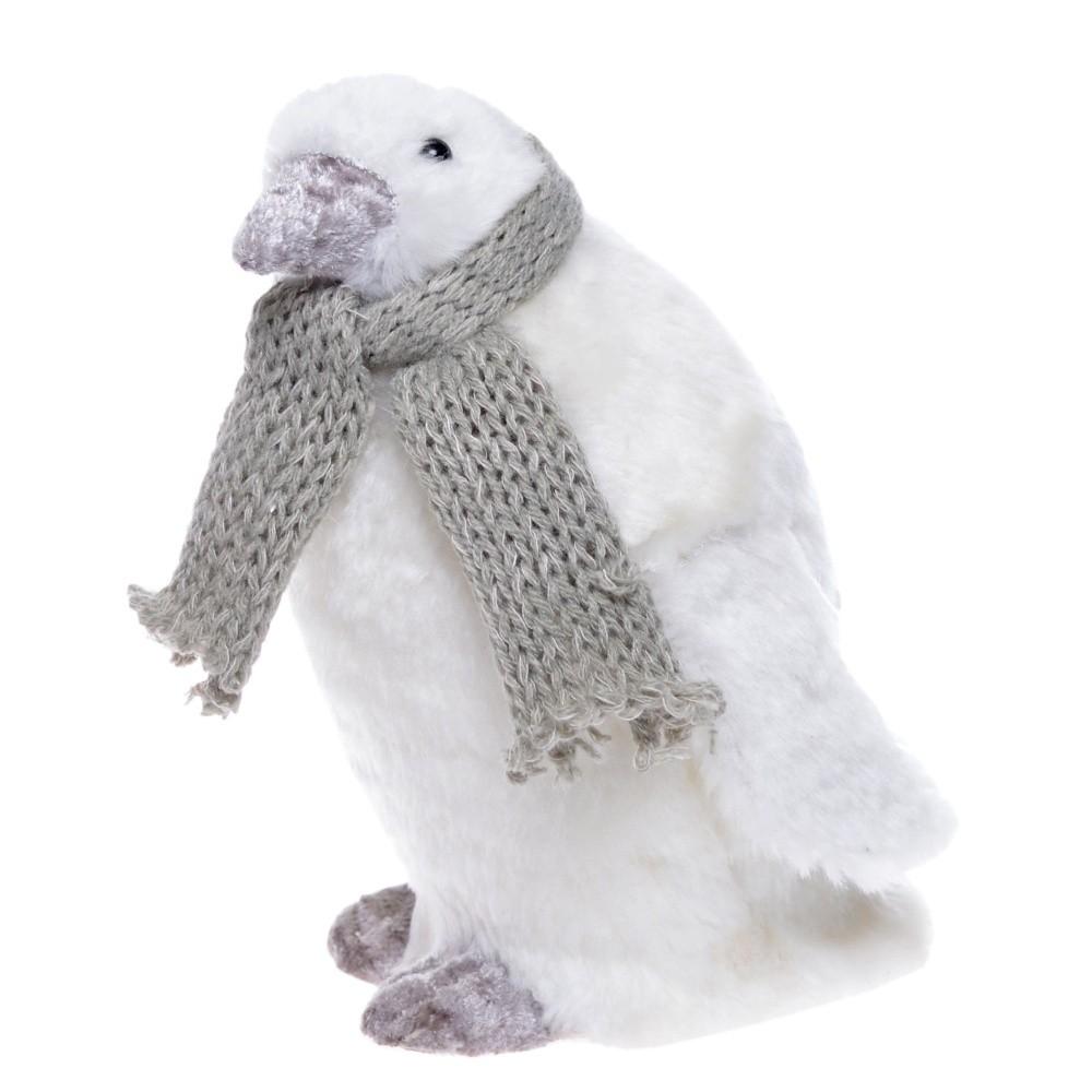 Biela dekorácia Ewax Pinguino, výška 17 cm