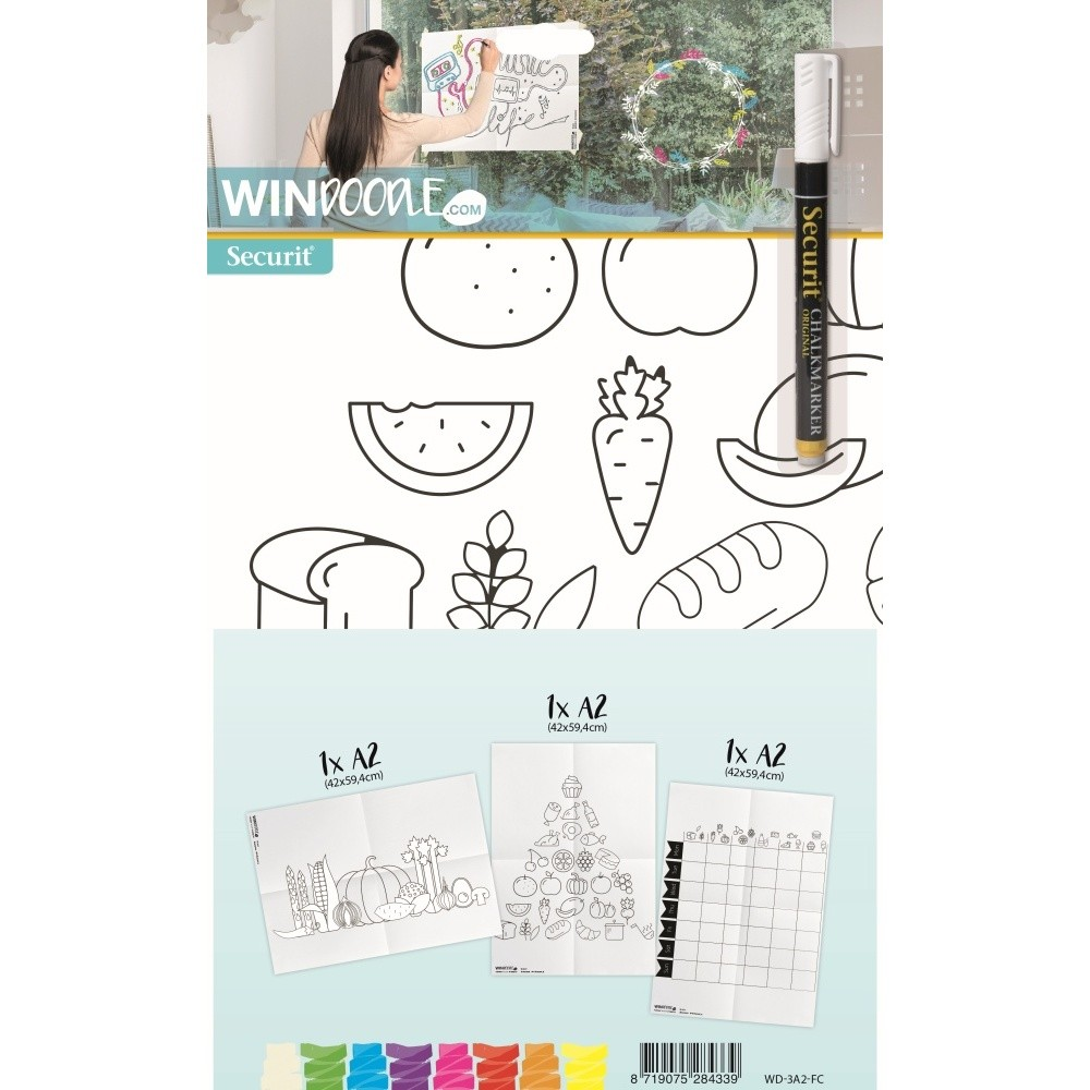 Set 3 šablón vo formáte A2 a popisovača na okno Securit Food Chart