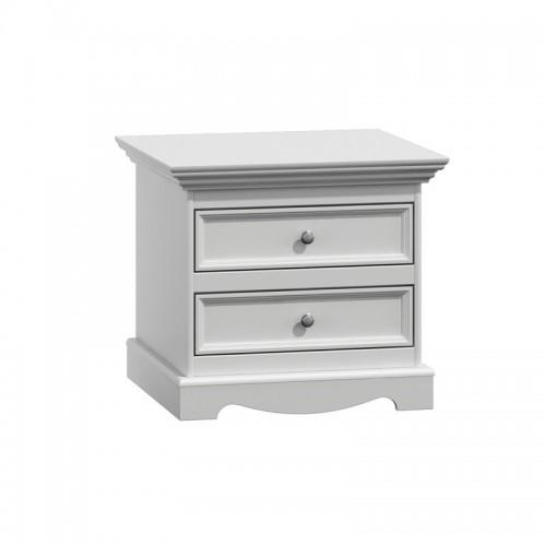 Biely nábytok Nočný stolík Belluno Ellegante, biely, masív, borovica