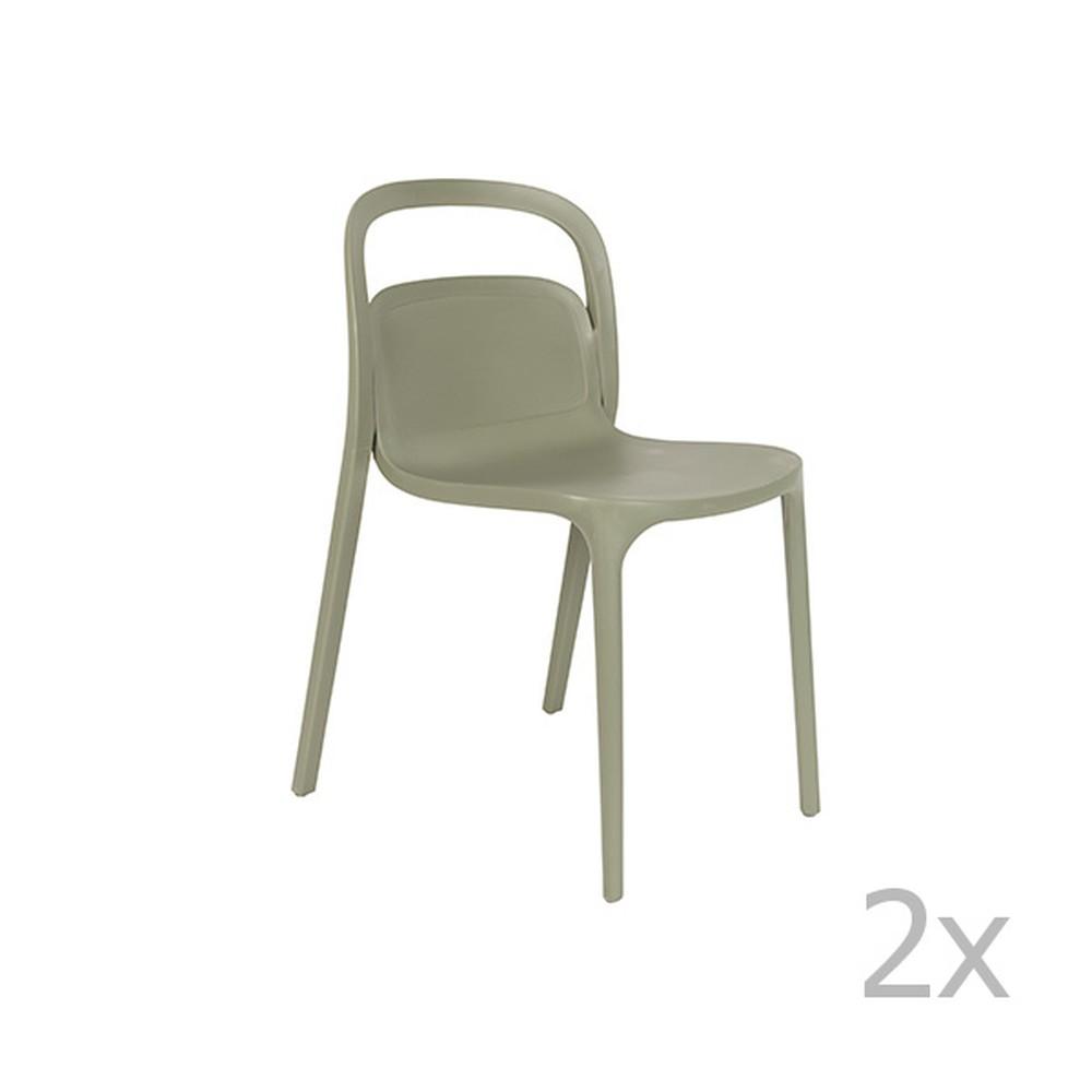 Sada 2 zelených stoličiek White Label Rex