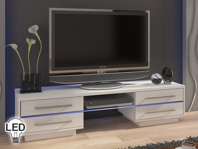 TV stolík/skrinka Laguna (biela + lesk biely)