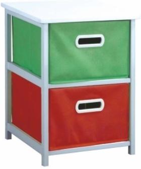 Viacúčelová komoda s úložnými boxami z látky, biely rám/farebné boxy, COLOR 97