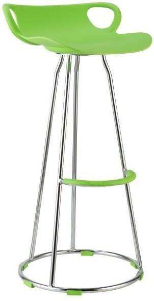 Barová stolička, chróm + plast, zelená, GLADI