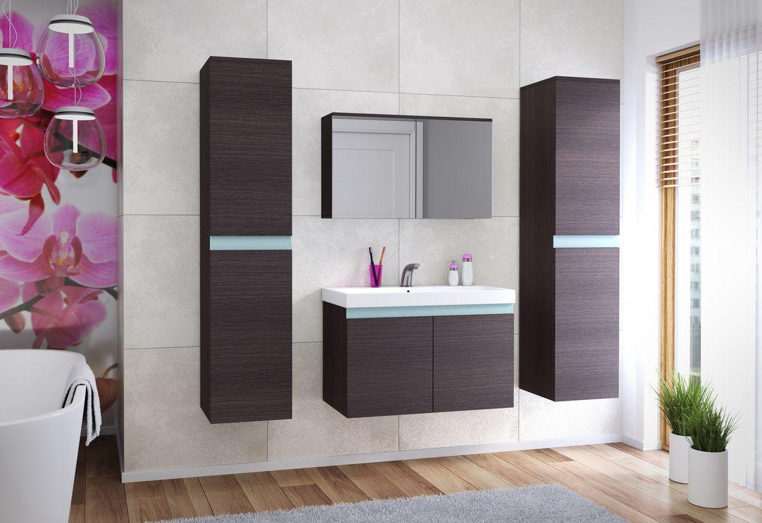 Koupelnová sestava + umyvadlo SIMBA, bílá/wenge