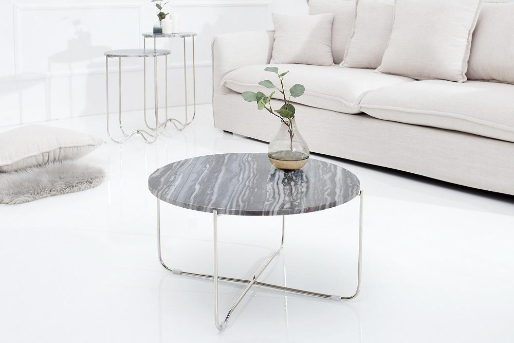 Bighome - Konferenčný stolík NOBL - šedá , strieborná
