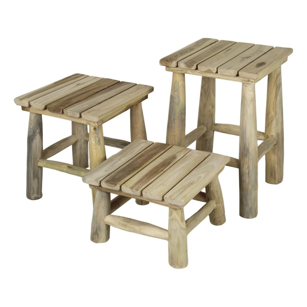 Sada 3 stoličiek z teakového dreva HSM collection Squares