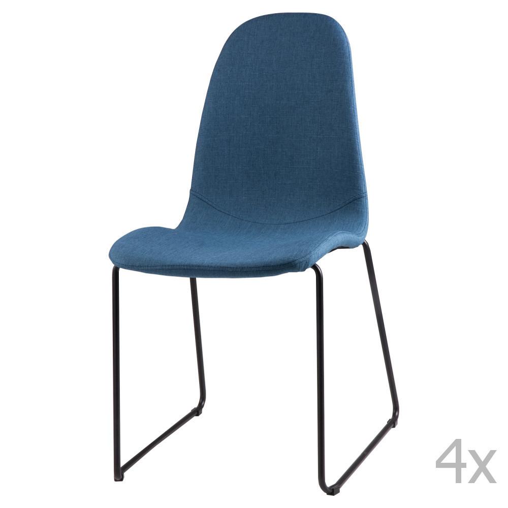 Sada 4 tmavomodrých jedálenských stoličiek sømcasa Helena