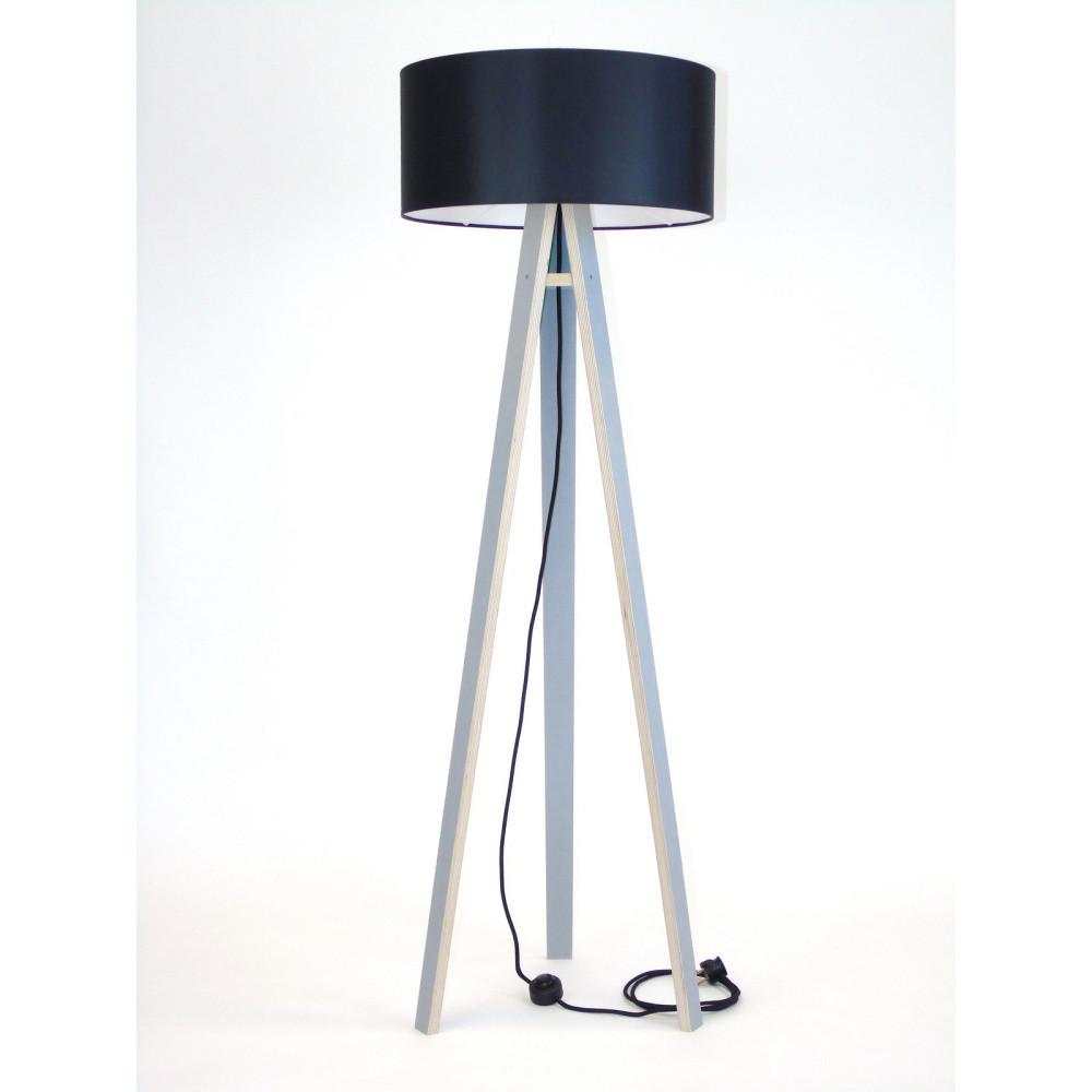 Sivá stojacia lampa s čiernym tienidloma čiernym káblom Ragaba Wanda