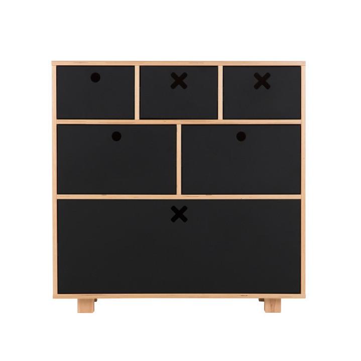 Vysoká čierna komoda Durbas Style