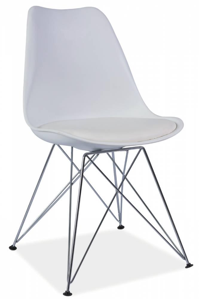 Jedálenská stolička Tim (biela + chróm)