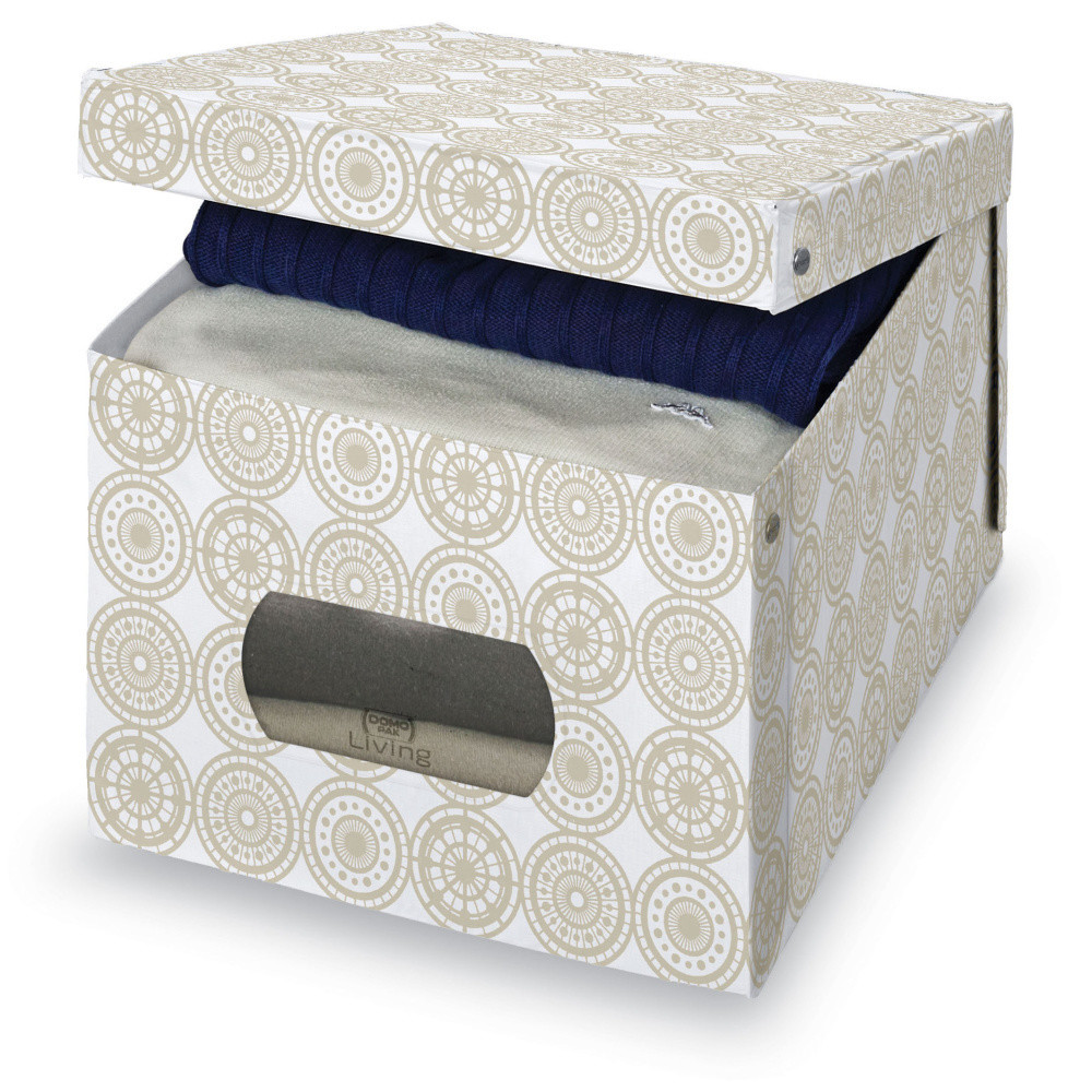 Béžový úložný box na paplón Domopak Ella, veľ. XL