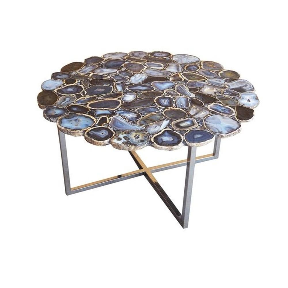 Konferenčný stôl z antikoro ocele a kamenné dosky Kare Design, Ø 80cm