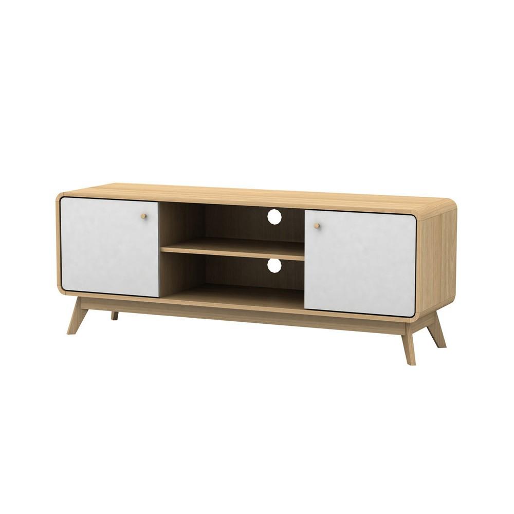 Bielo-hnedý drevený TV stolík Størra Cleo