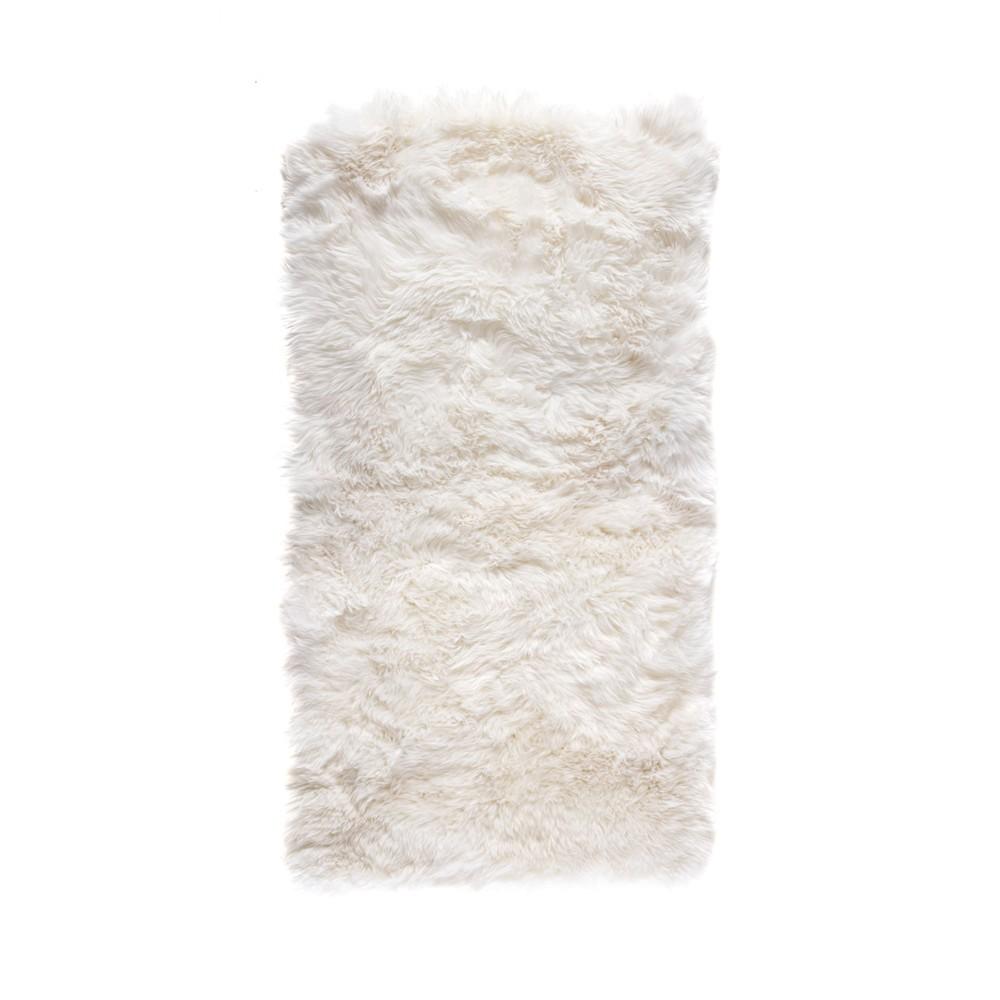 Biely obdĺžnikový koberec z ovčej vlny Royal Dream Zealand