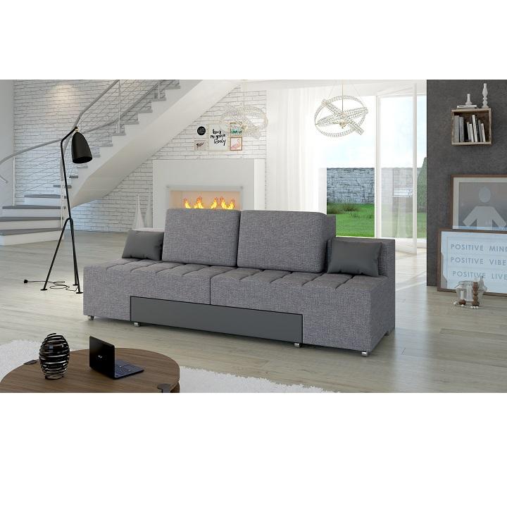 Rozkladacia pohovka, látka sivá-ekokoža sivá, ATLANTICO |KUMAXnabytok.sk