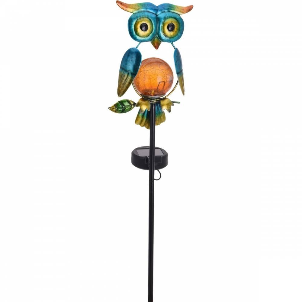 Solárna lampa Owl modrá, 12 x 6 x 54 cm