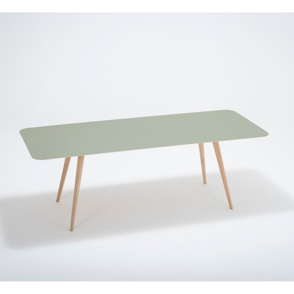 Jedálenský stôl z masívneho dubového dreva so zelenou doskou Gazzda Linn, 220×90cm