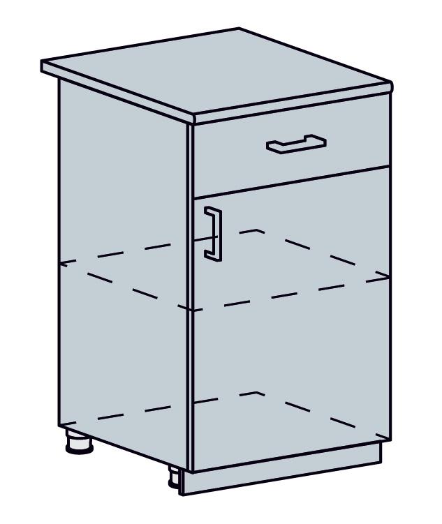 ARTEMIS/VALENCIA dolná skrinka so zásuvkou 50D1S, biela/čierny metalic.