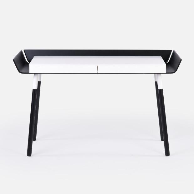 Čierno-biely písací stôl Emko My Writing, 2 zásuvky