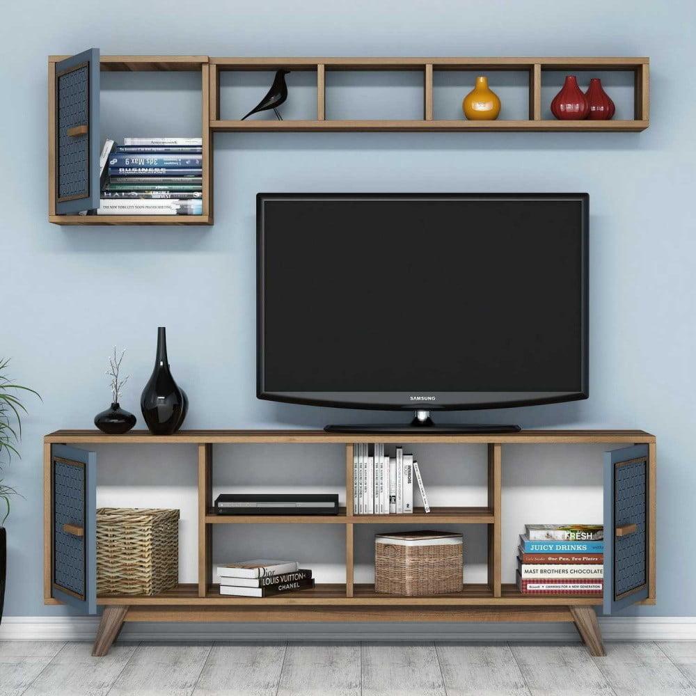 Modrý TV stolík Ayla