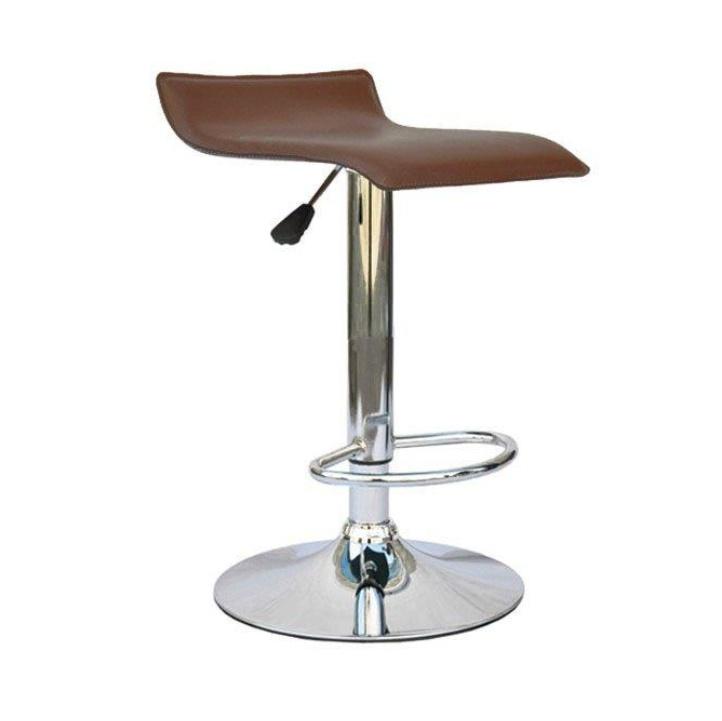 TEMPO KONDELA Barová stolička, ekokoža hnedá/chróm, LARIA NEW