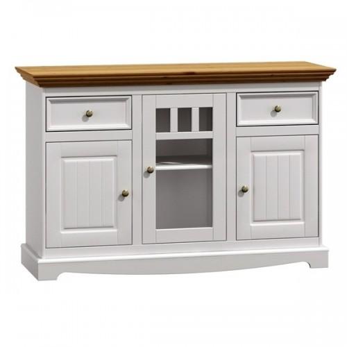 Biely nábytok Komoda Belluno Elegante, 3-dverová, dekor biela / dub, masív, borovica