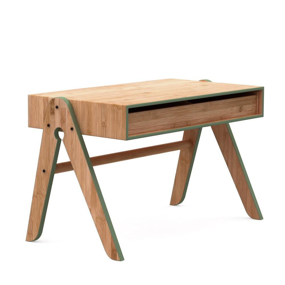 Detský bambusový písací stôl so zelenými detailmi We Do Wood Geo's