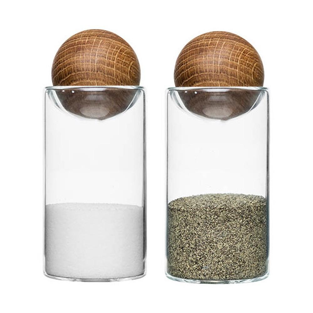 Soľnička a korenička Oval Oak Sagaform