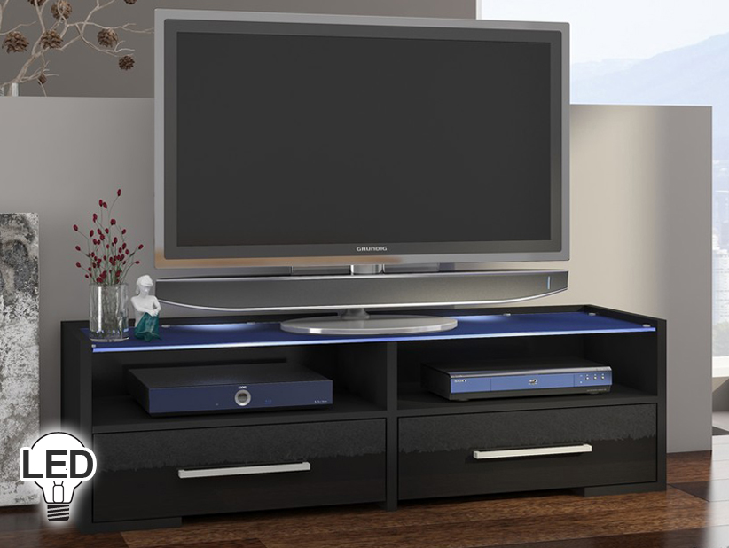 TV stolík/skrinka Semprio (čierna + lesk čierny)