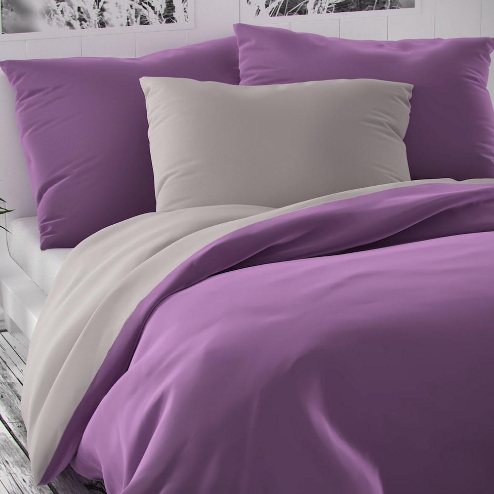Kvalitex Saténové obliečky Luxury Collection fialová/svetlosivá, 200 x 200 cm, 2 ks 70 x 90 cm