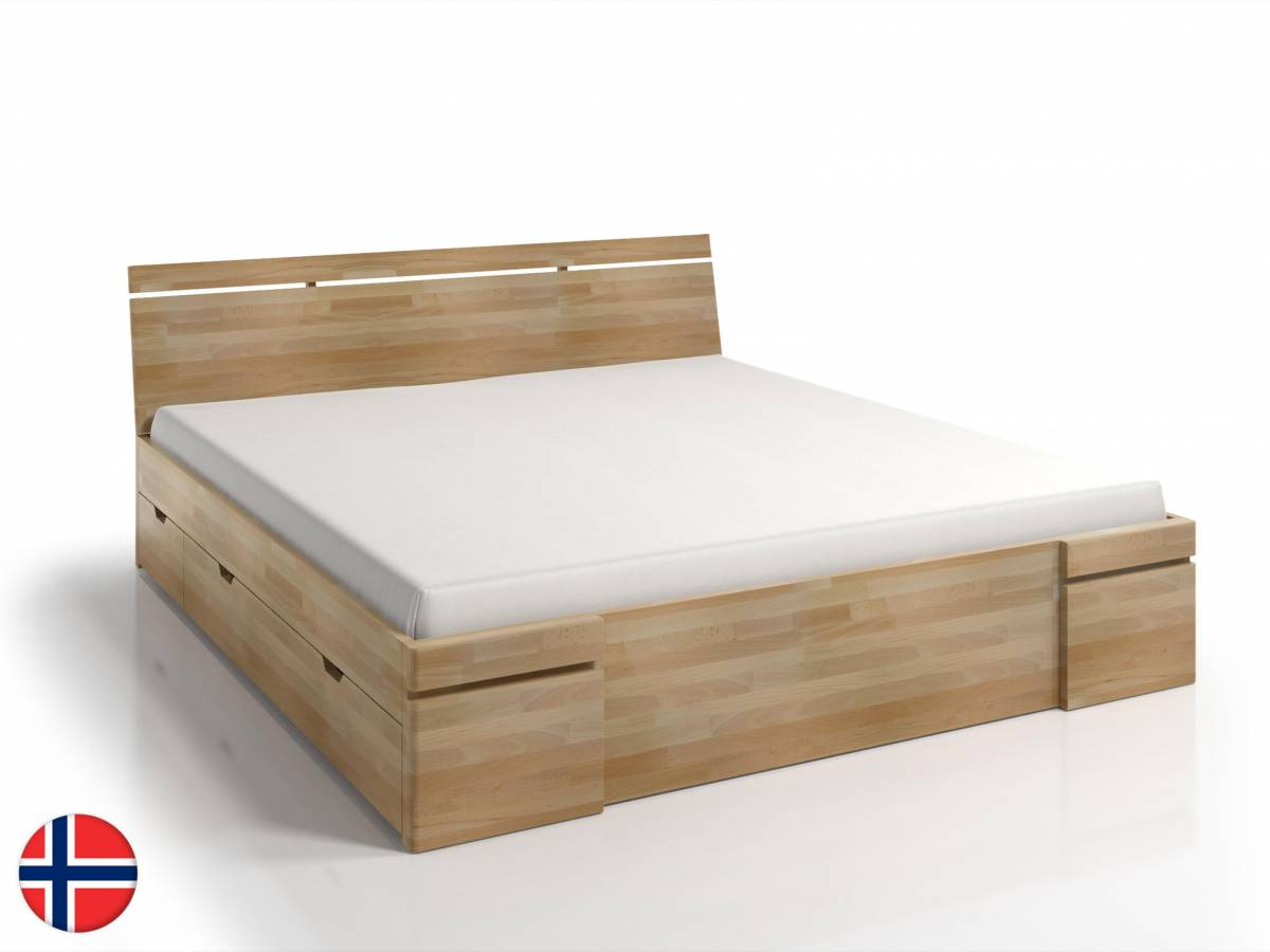 Manželská posteľ 180 cm Naturlig Bavergen Maxi DR (buk) (s roštom a úl. priestorom)