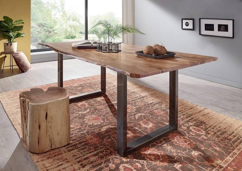 Bighome - METALL Jedálenský stôl s hnedými nohami 180x90, akácia, prírodná