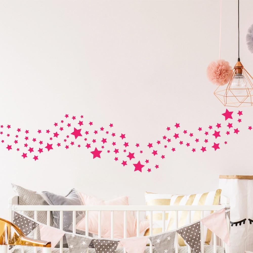 Sada 100 ružových nástenných detských samolepiek Ambiance Stars