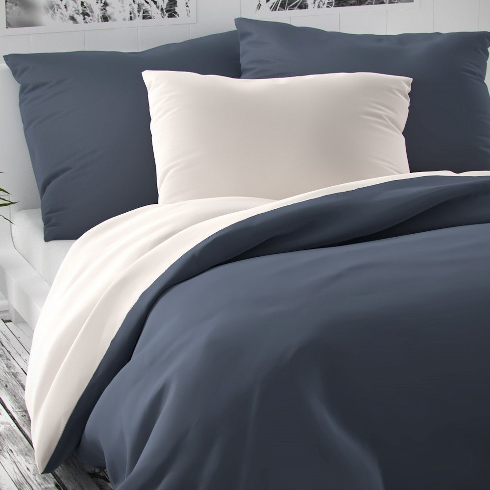 Kvalitex Saténové obliečky Luxury Collection biela/tmavosivá, 240 x 220 cm, 2 ks 70 x 90 cm