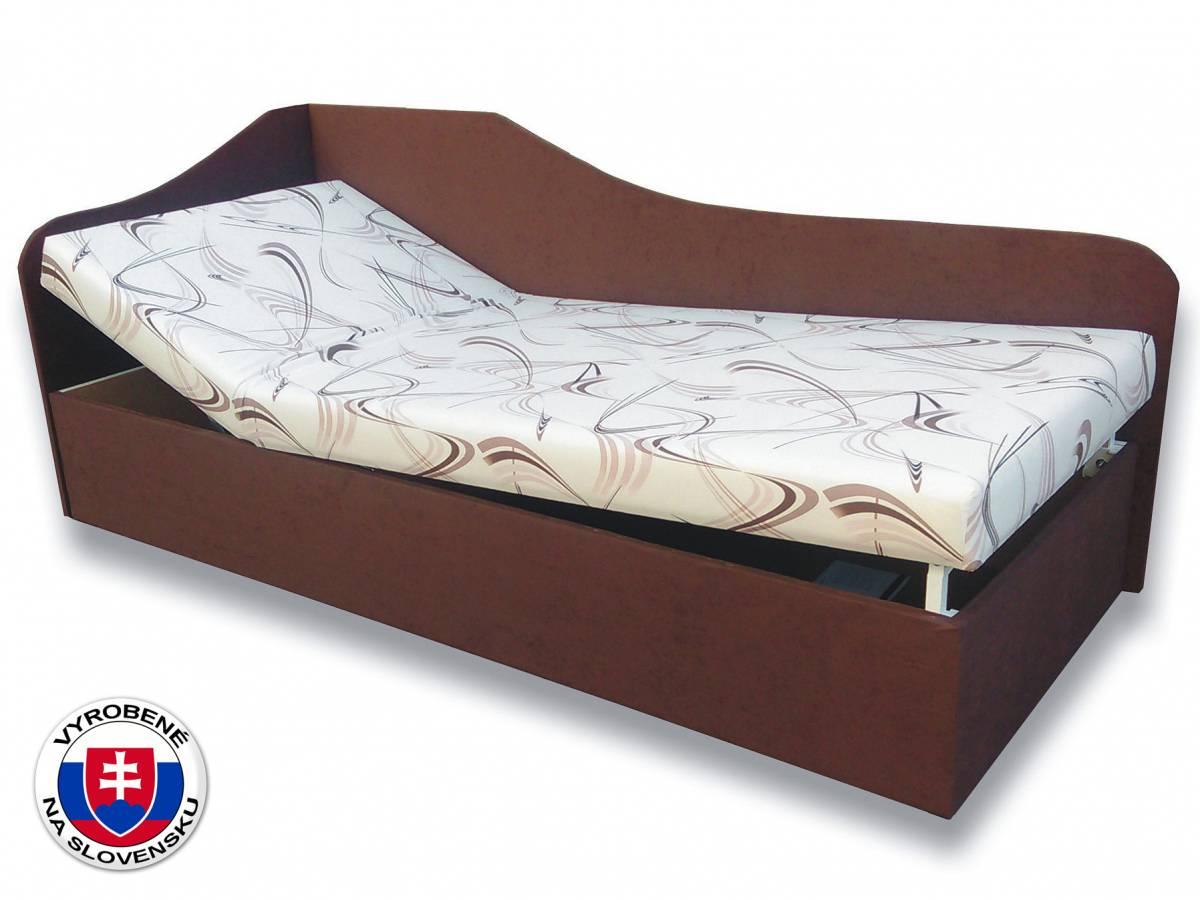 Jednolôžková posteľ (váľanda) 90 cm Anita (Sand 10 + Tmavohnedá 40) (L)