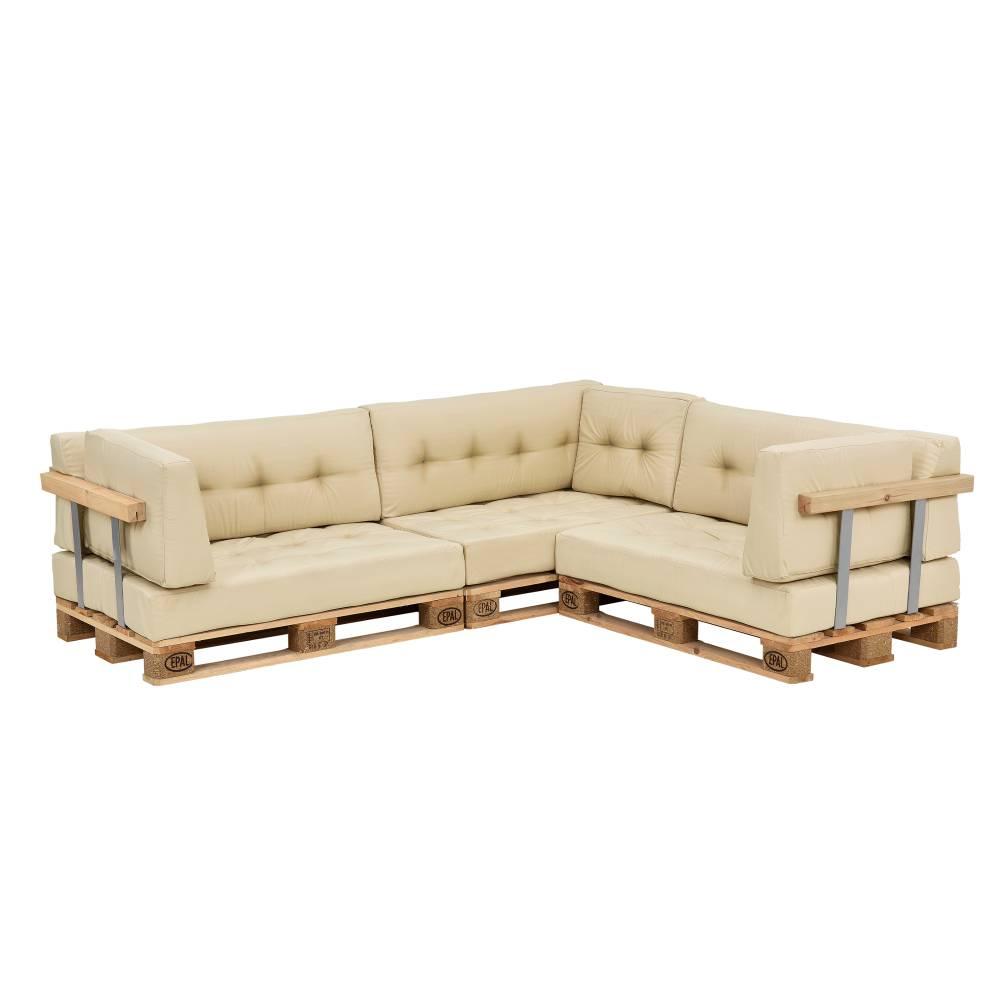 [en.casa]® Paletový nábytok - vankúšová sada - béžová
