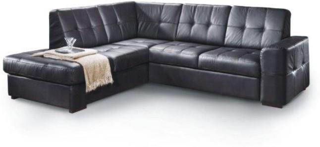 Rozkladacia rohová sedacia súprava s úložným priestorom, L prevedenie, koža YAK M6900 čierna, TREK VEĽKÝ ROH
