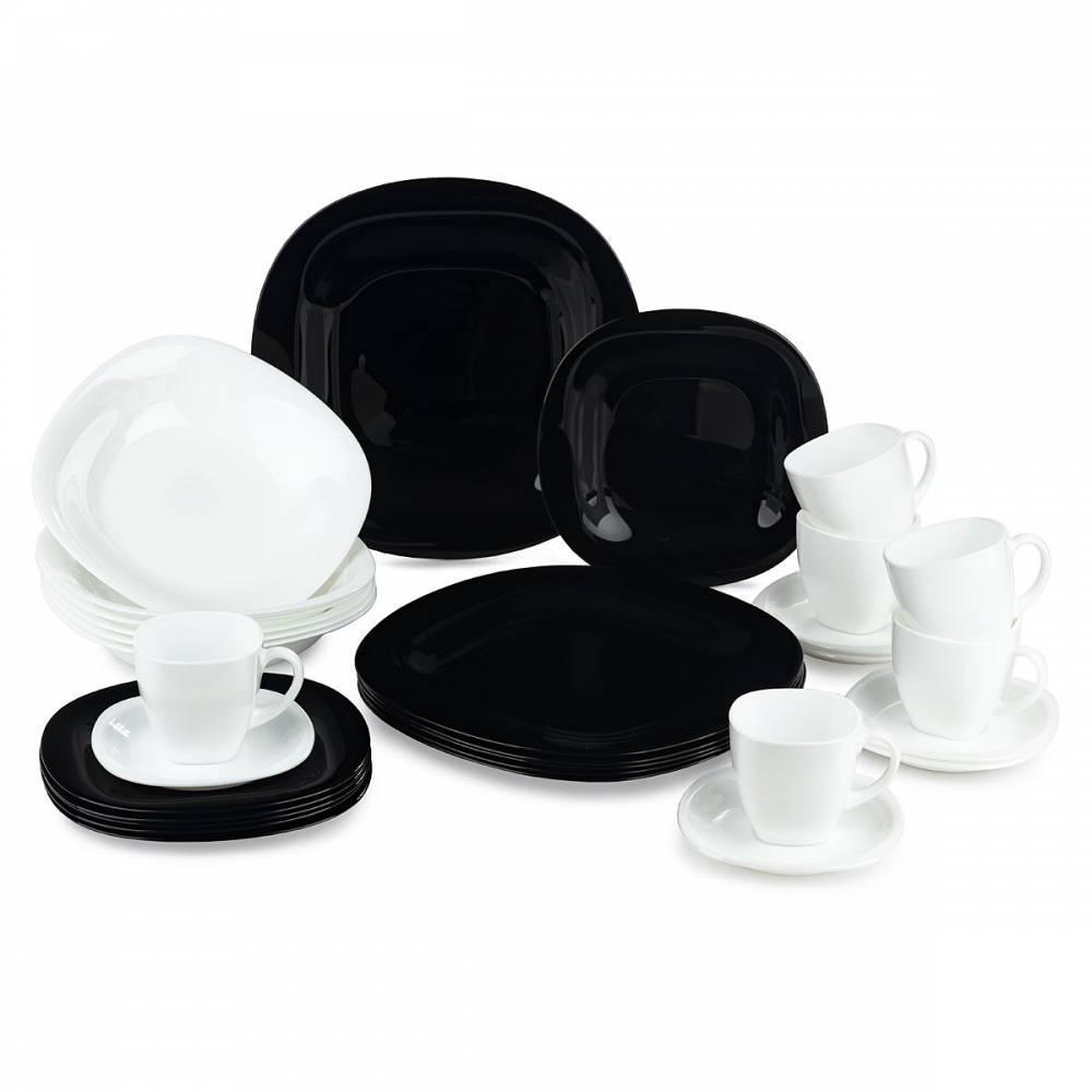 Luminarc 30-dielna jedálenská súprava Carine, čierno-biela