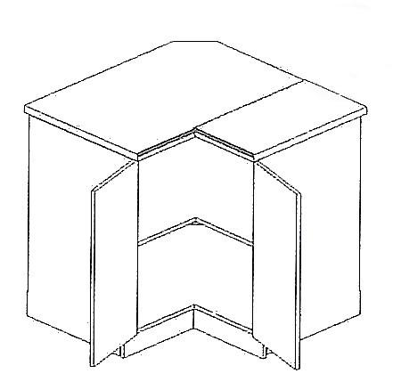 DRP P/L dolná rohová skrinka AURA, mocca/šedá