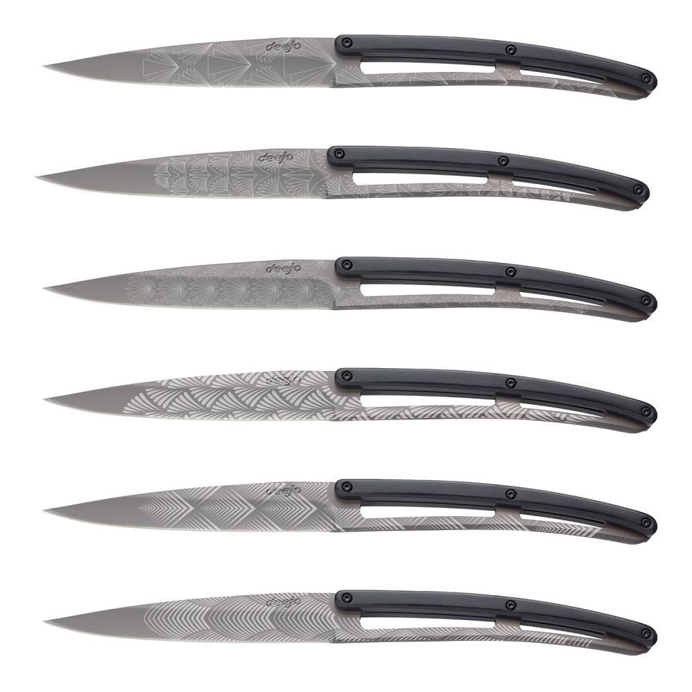 Sada steakových nožů 6dílná PaperStone®, titanium Art Deco